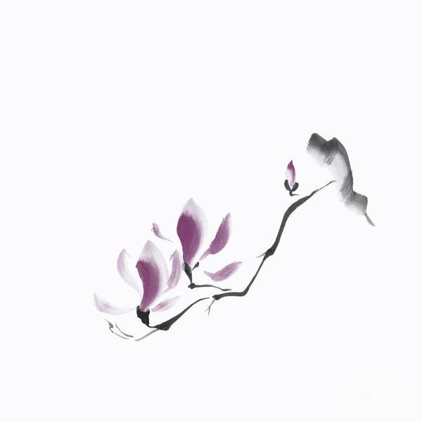 Blooming Tree Mixed Media - Minimalistic Elegant Magnolia Branch Japanese Zen Illustration O by Awen Fine Art Prints