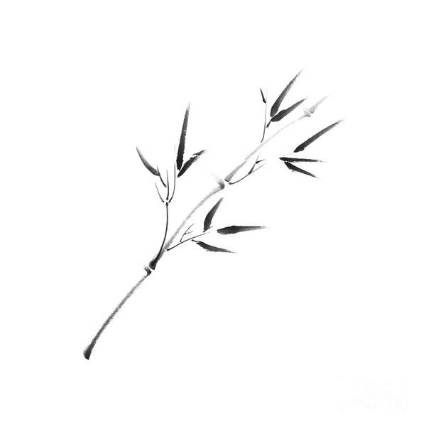 Single Leaf Mixed Media - Minimalistic Serene Young Bamboo Branch With Leaves by Awen Fine Art Prints