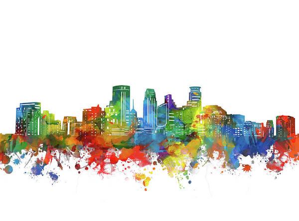 Minneapolis Digital Art - Minneapolis City Skyline Watercolor by Bekim M