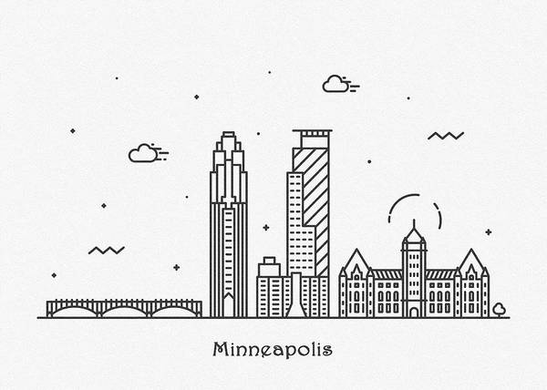 Minnesota Drawing - Minneapolis Cityscape Travel Poster by Inspirowl Design