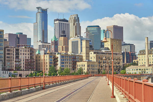 Photograph - Minneapolis From Stone Arch Bridge by Jim Hughes