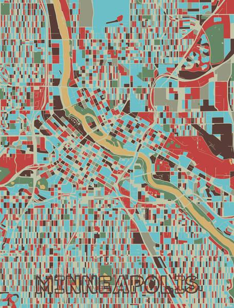 Minneapolis Digital Art - Minneapolis Map Retro 3 by Bekim M
