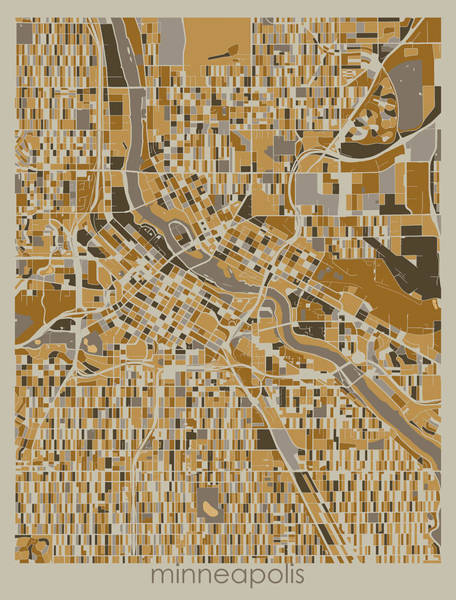 Wall Art - Digital Art - Minneapolis Map Retro 4 by Bekim M