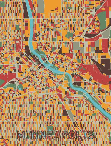 Wall Art - Digital Art - Minneapolis Map Retro by Bekim M