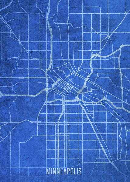 Wall Art - Mixed Media - Minneapolis Minnesota City Street Map Blueprints by Design Turnpike