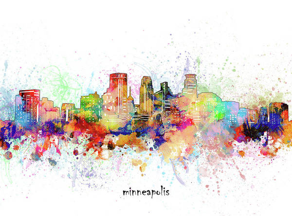 Wall Art - Digital Art - Minneapolis Skyline Artistic by Bekim M