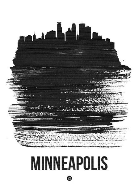 Country Mixed Media - Minneapolis Skyline Brush Stroke Black by Naxart Studio