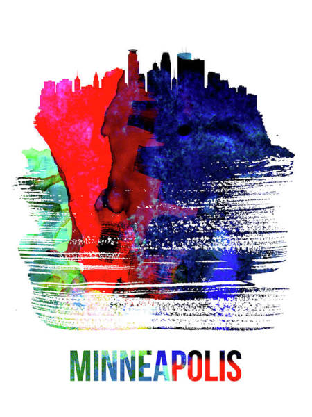 Country Mixed Media - Minneapolis Skyline Brush Stroke Watercolor   by Naxart Studio