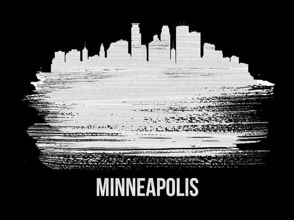 Country Mixed Media - Minneapolis Skyline Brush Stroke White by Naxart Studio