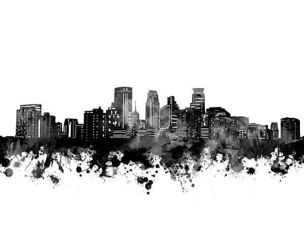 Minneapolis Digital Art - Minneapolis Skyline Bw by Bekim M