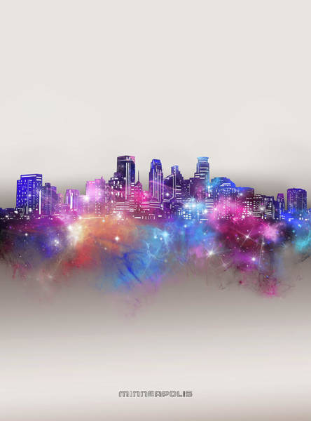 Wall Art - Digital Art - Minneapolis Skyline Galaxy by Bekim M