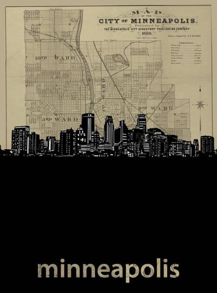 Minneapolis Digital Art - Minneapolis Skyline Map by Bekim M