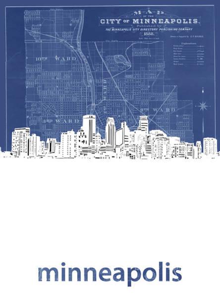 Minneapolis Digital Art - Minneapolis Skyline Map Blue by Bekim M