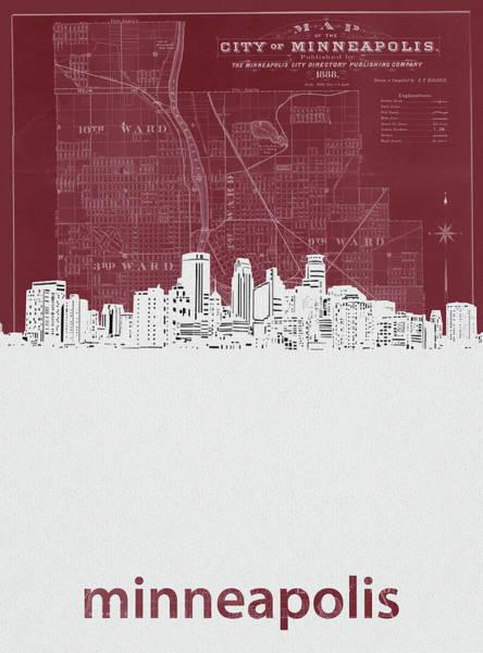 Minneapolis Digital Art - Minneapolis Skyline Map Red by Bekim M