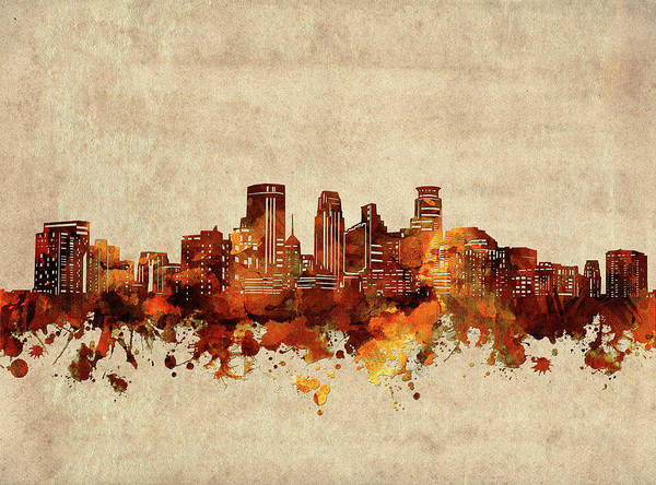 Wall Art - Digital Art - Minneapolis Skyline Sepia by Bekim M