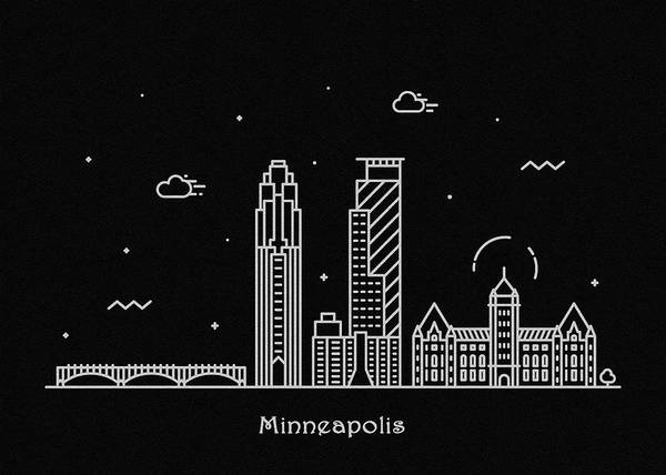 Minnesota Drawing - Minneapolis Skyline Travel Poster by Inspirowl Design