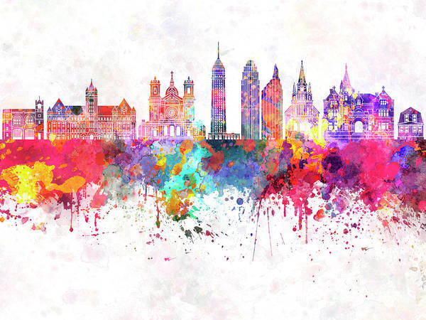 Wall Art - Painting - Minneapolis V2 Skyline In Watercolor Background by Pablo Romero