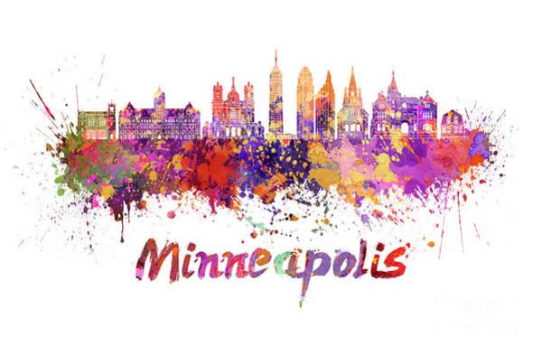 Wall Art - Painting - Minneapolis V2 Skyline In Watercolor Splatters by Pablo Romero