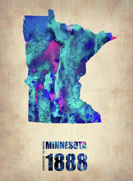 Wall Art - Digital Art - Minnesota Map by Naxart Studio