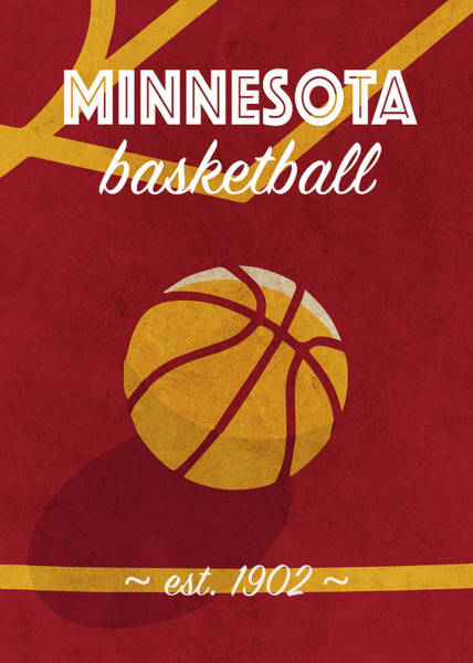 Wall Art - Mixed Media - Minnesota University Retro College Basketball Team Poster by Design Turnpike
