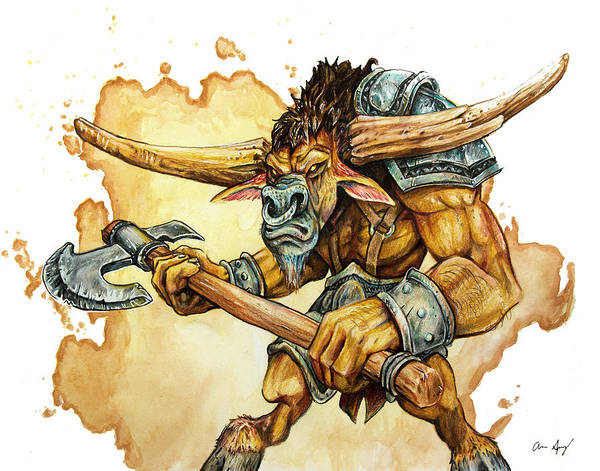 Drawing - Minotaur by Aaron Spong