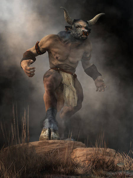 Digital Art - Minotaur by Daniel Eskridge