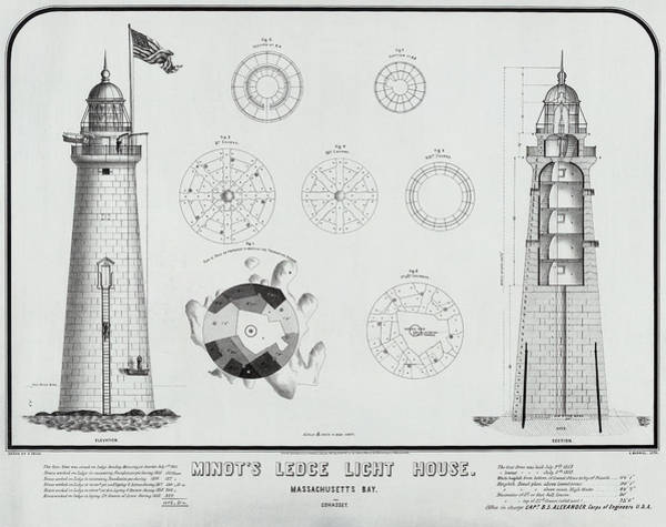 Wall Art - Photograph - Minot's Ledge Lighthouse Drawing 1860 by Daniel Hagerman