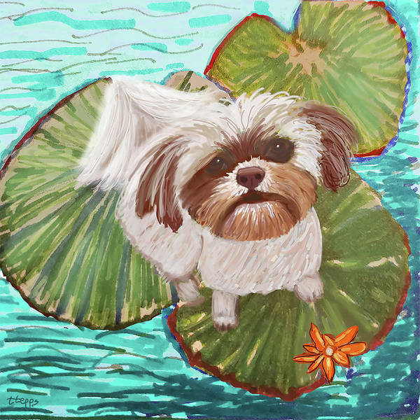 Digital Art - Mischievous Shih Tzu by Teresa Epps