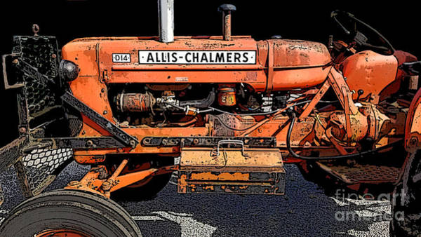 Old Tractor Drawing - Miss Allis by Diane E Berry