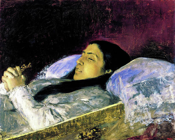 Wall Art - Painting - Miss Del Castillo On Her Deathbed - Digital Remastered Edition by Mariano Fortuny