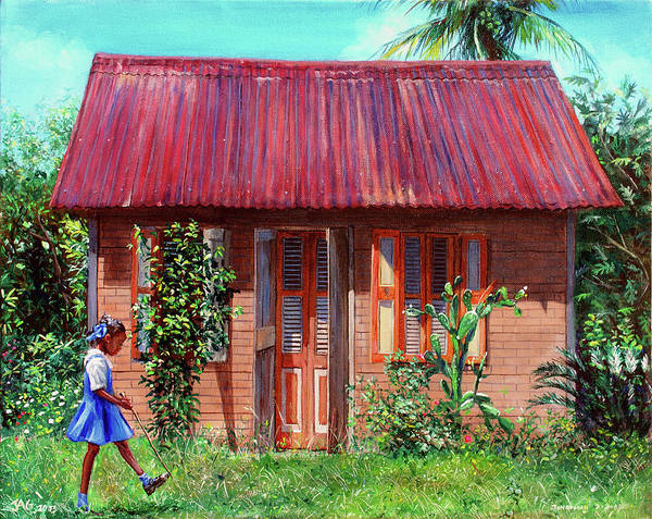 Saint Lucia Painting - Miss Sylvian's House by Jonathan Guy-Gladding JAG