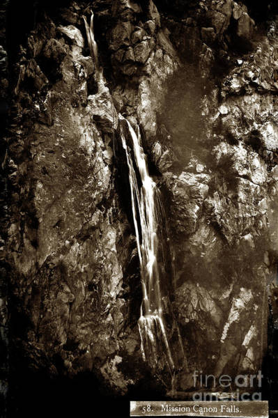 Photograph - Mission Canon Falls, Santa Barbara  Circa 1890 by California Views Archives Mr Pat Hathaway Archives