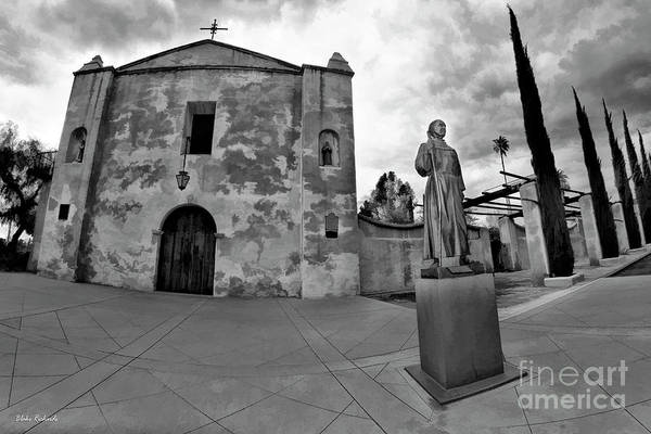 San Gabriel Mission Photograph - Mission San Gabriel San Gabriel Ca Black And White by Blake Richards