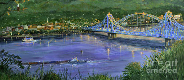 Wall Art - Painting - Mississippi River Blue Bridges by Marilyn Smith
