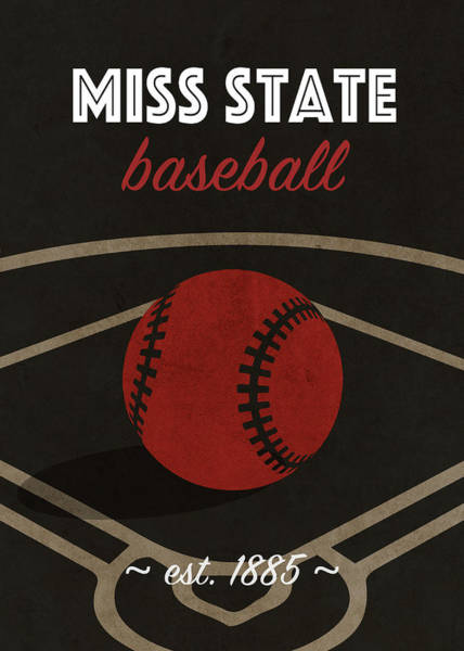 Wall Art - Mixed Media - Mississippi State Baseball College Sports Team Retro Vintage Poster Series by Design Turnpike