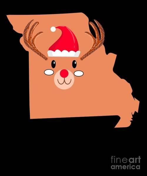 Ugly Digital Art - Missouri Christmas Hat Antler Red Nose Reindeer by TeeQueen2603