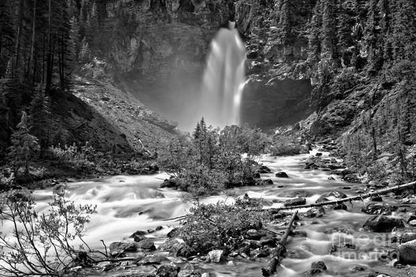 Photograph - Mist Around Laughing Falls Black And White by Adam Jewell