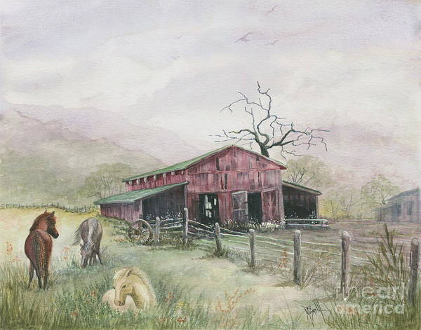 Red Wagon Painting - Mist In The Wind by Marilyn Smith