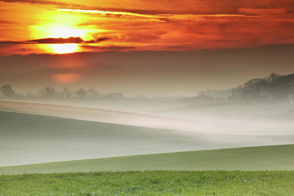 Free Range Photograph - Mist Over Landscape Of Rolling Hills by Andy Freer