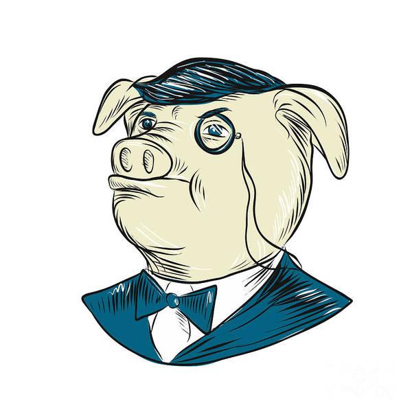 Wall Art - Digital Art - Mister Pig Monocle Drawing by Aloysius Patrimonio