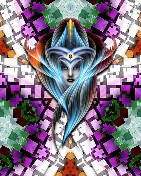 Digital Art - Mistress Of The Cuboid Gclr-x3m by Xzendor7