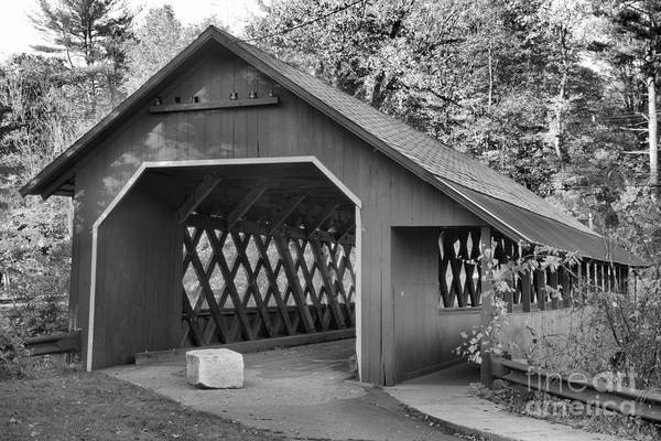 Photograph - Misty Afternoon At The Creamery Covered Bridge Black And White by Adam Jewell
