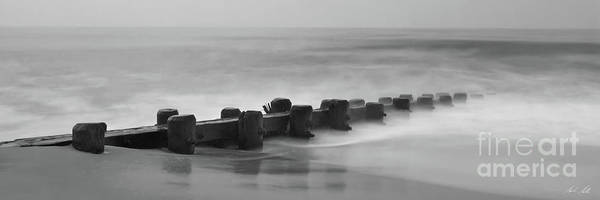 Photograph - Misty Beach Morning - Signed Black And White Panoramic Version by Mark Miller