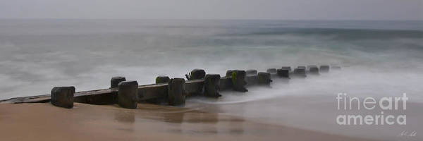 Photograph - Misty Beach Morning - Signed Color Panoramic Version by Mark Miller