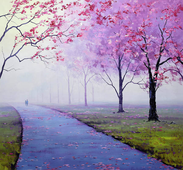 Pink Blossom Painting - Misty Blossom Trees by Graham Gercken