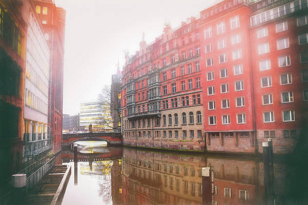 Deutschland Photograph - Misty City Canal Hamburg Germany  by Carol Japp