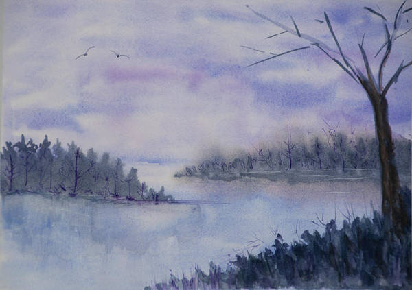 Wall Art - Painting - Misty Lake by Joanne Napoli