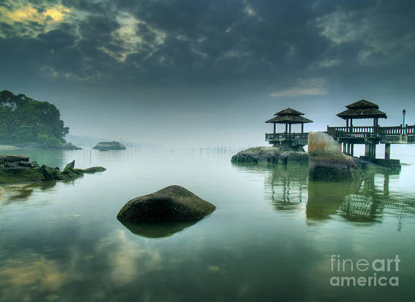 Remote Photograph - Misty Morning As Seen Over Rocks by Lawrence Wee