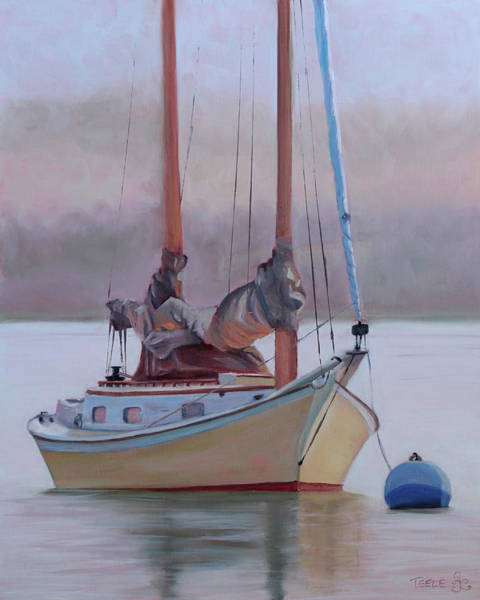 Painting - Misty Morning Catboat by Trina Teele