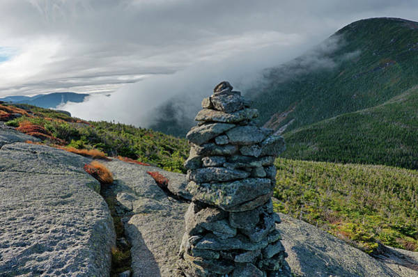 Photograph - Misty Morning On Wright Mountain Adirondacks Rock Cairn by Toby McGuire
